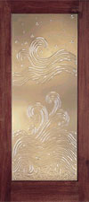 Taylor Door's E0500 Ocean Waves, Cast Glass Wood Doors